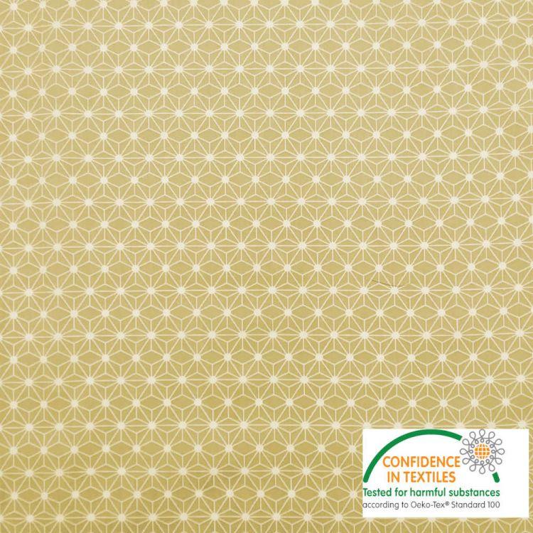 Coton imprimé MINI étoile japonaise moutarde