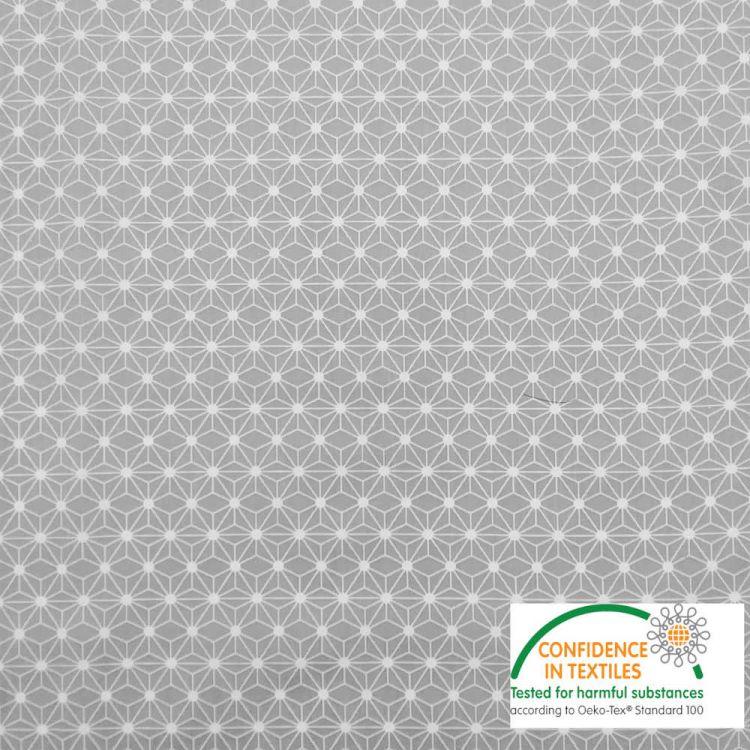 Coton imprimé MINI étoile japonaise gris