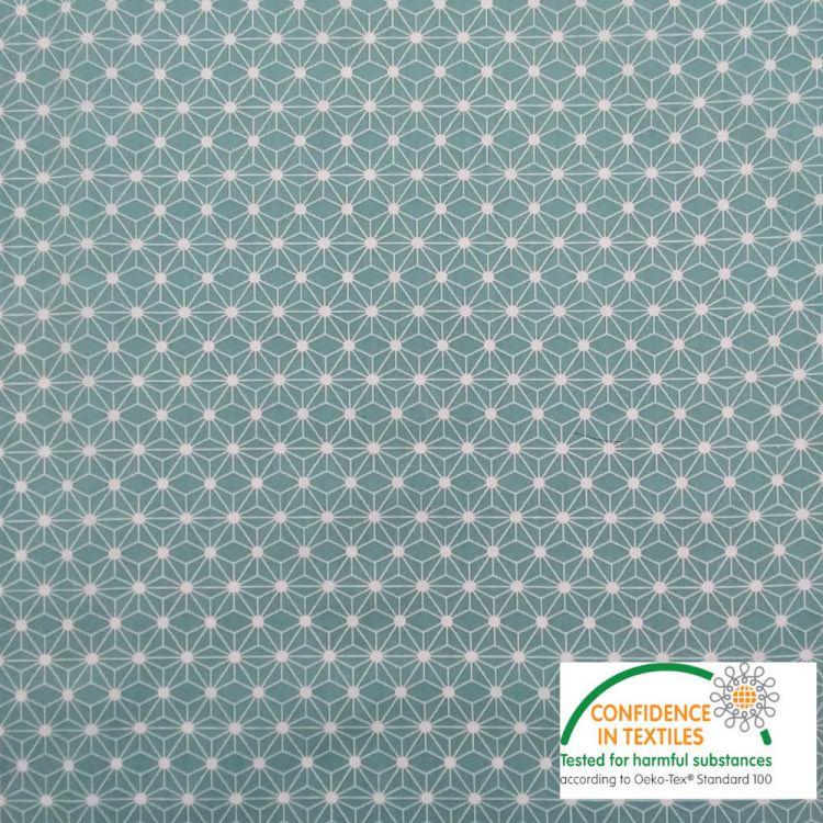 Coton imprimé MINI étoile japonaise bleu vert