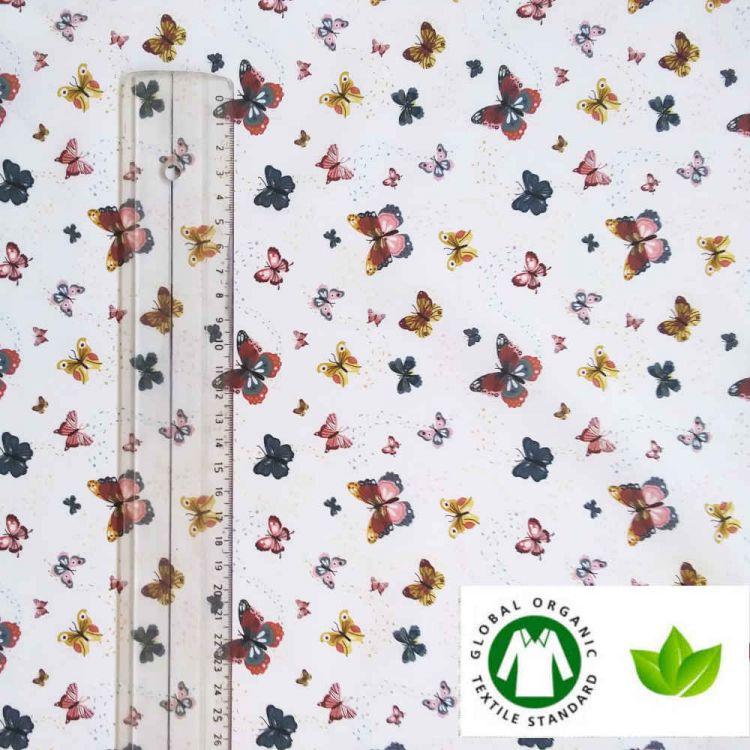 Coton BIO imprimé papillon
