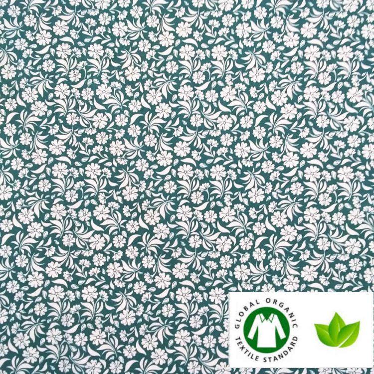 Coton BIO imprimé jardin émeraude