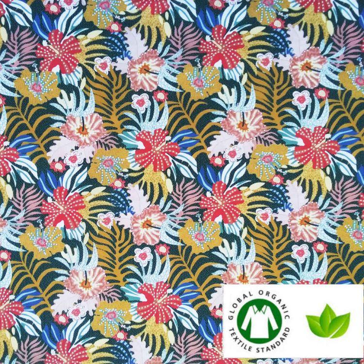 Coton BIO imprimé tropical pointillé