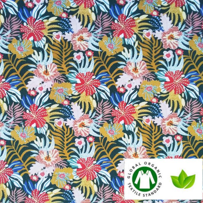 Coton BIO imprimé tropical pointillé