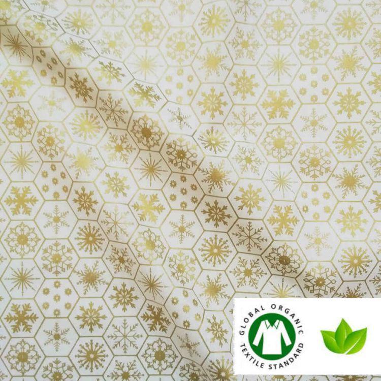 Coton BIO imprimé NOËL flocons ivoire