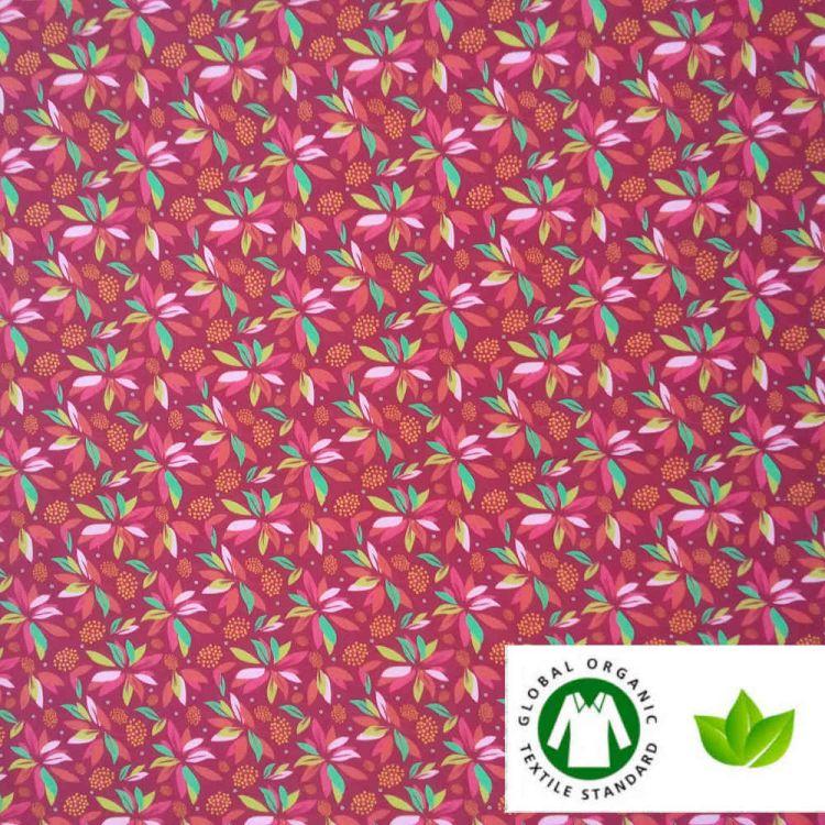 Coton BIO tropical framboise