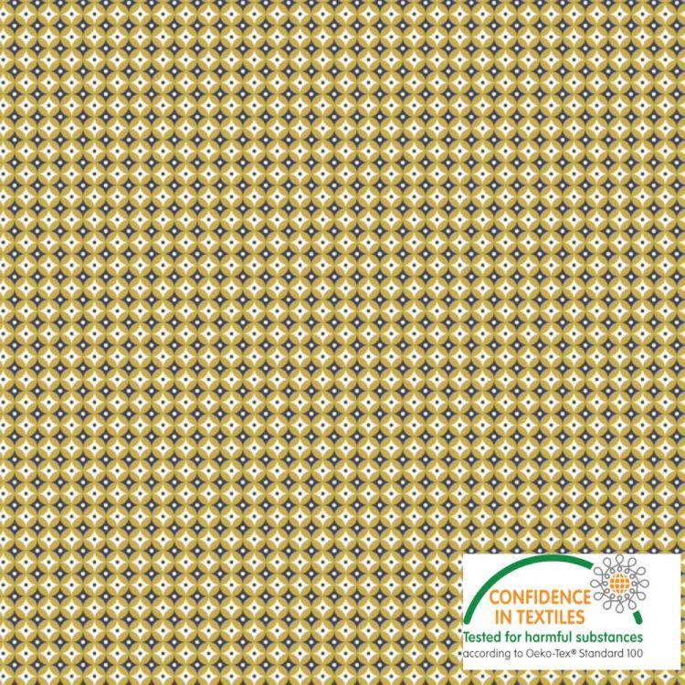 Coton imprimé seventees moutarde