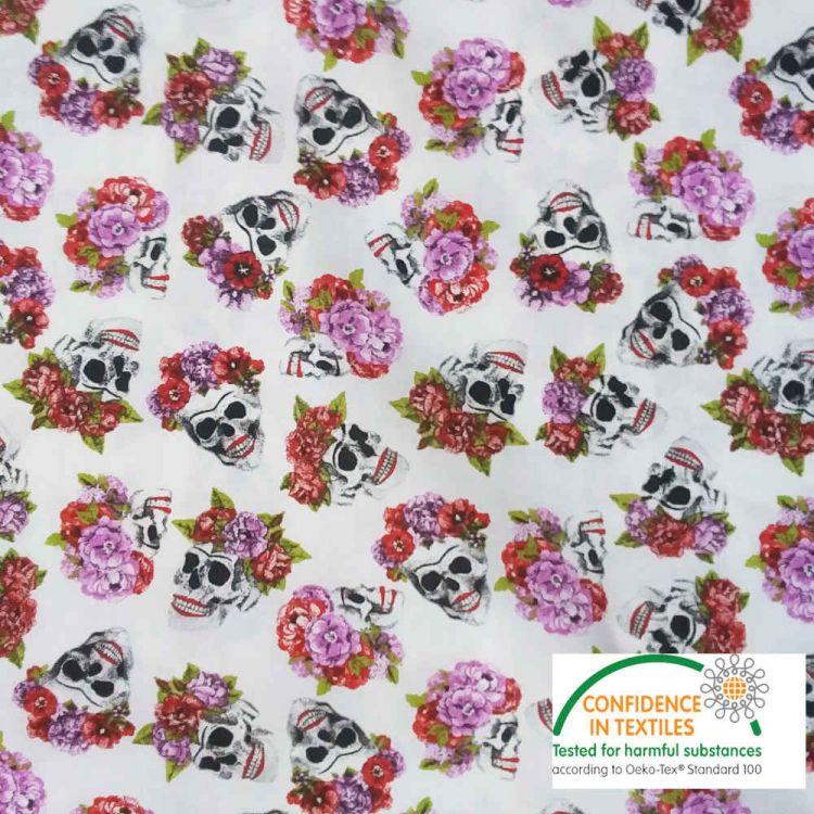 Coton Tête de mort & Fleurs fond blanc