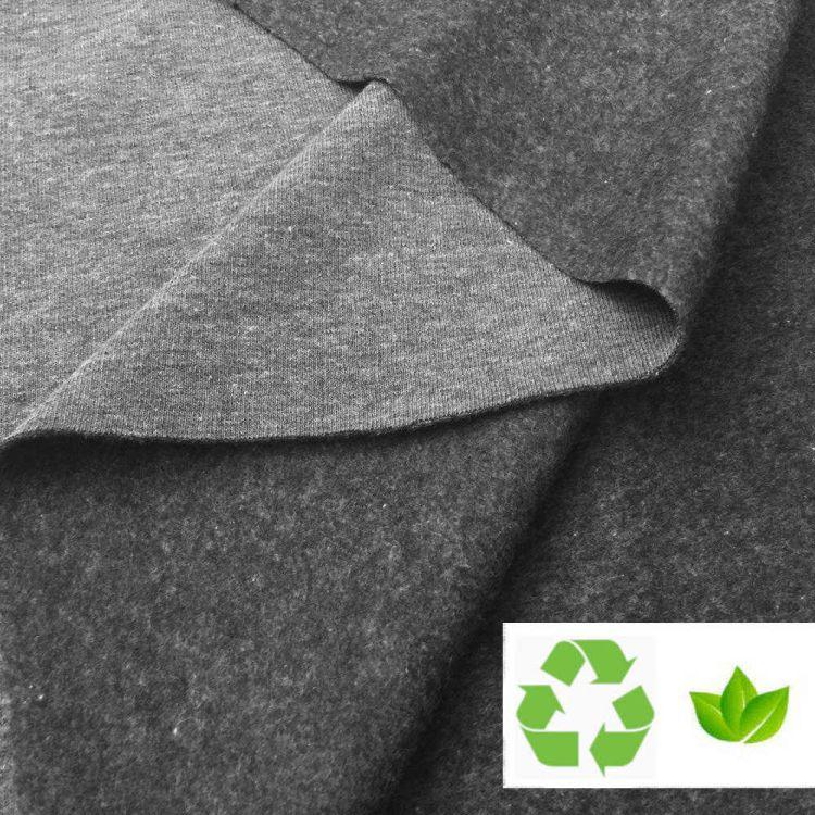 Tissu molleton gris chiné recyclé